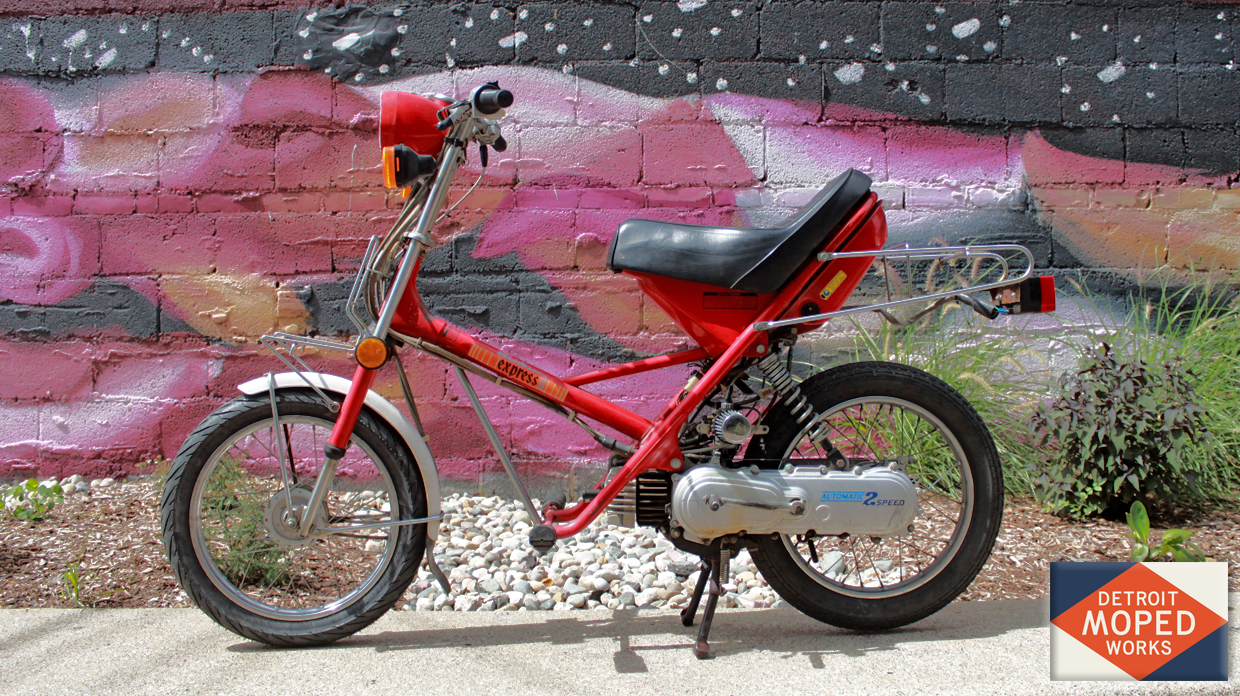 1981 Red Honda Express II (SOLD) – Detroit Moped Works